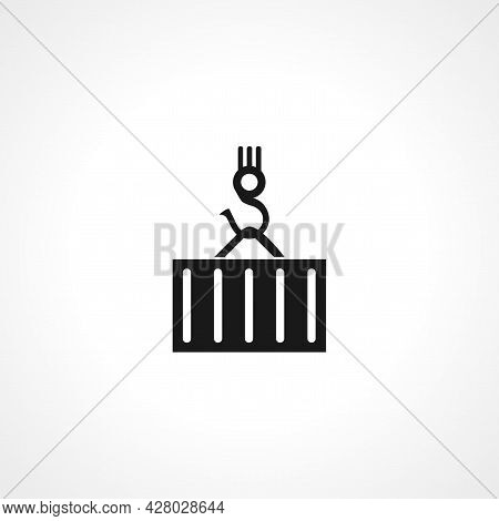 Container Line And Glyph Icon, Logistic And Delivery, Crane Icon. Container Simple Vector Icon. Logi