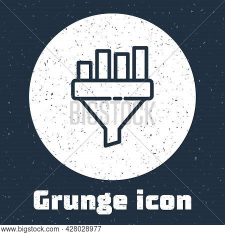 Grunge Line Sales Funnel With Chart For Marketing And Startup Business Icon Isolated On Grey Backgro