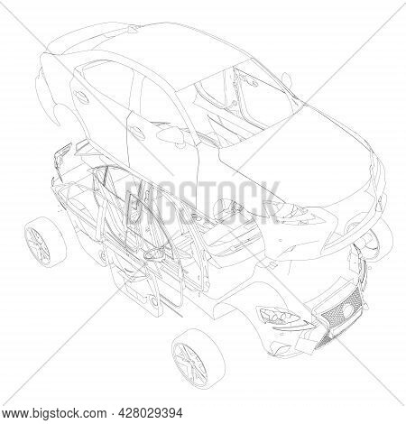 Machine Outline Disassembled Into Parts Isolated On White Background. Machine Parts Are Separated Fr