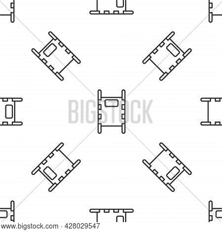Grey Line Stretcher Icon Isolated Seamless Pattern On White Background. Patient Hospital Medical Str