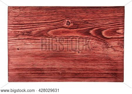 Top View: Red Textured Board Isolated On White.