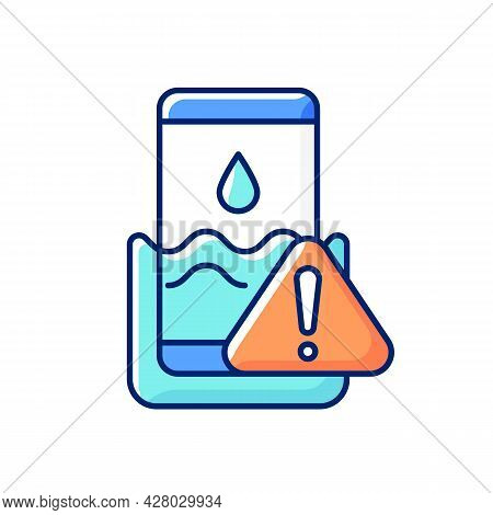 Water Damage Rgb Color Icon. Fix Liquid Damaged Mobile Phone. Drop Smartphone Into Water. Solve Drow
