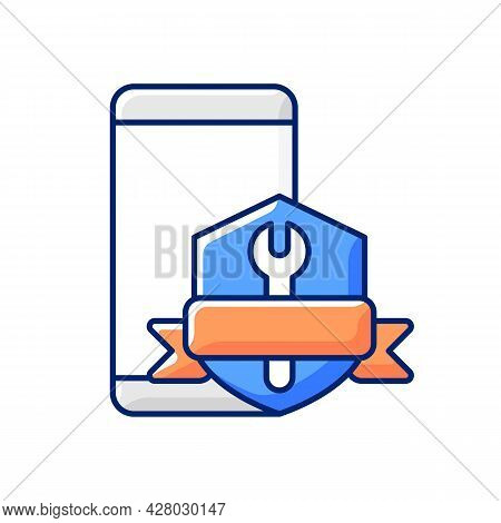 Phone Repair Warranty Rgb Color Icon. Broken Phone Replacement And Renovate Insurance. Fix Cracked C