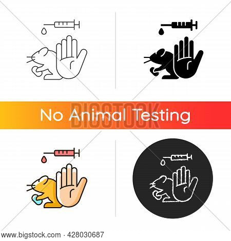 No Hamster Testing Gradient Icon. Refusal For Animal Abuse In Lab Research. Protecting Mice From Exp