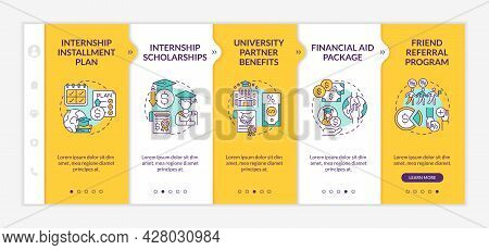 Internship Programs Financing Options Onboarding Vector Template. Responsive Mobile Website With Ico