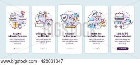 Types Of Humanitarian Aid Onboarding Mobile App Page Screen. Medical Assistance Walkthrough 5 Steps