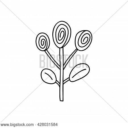Spring Vector Stylized Flower With Monoline Style. Scandinavian Illustration Art Element. Decorative