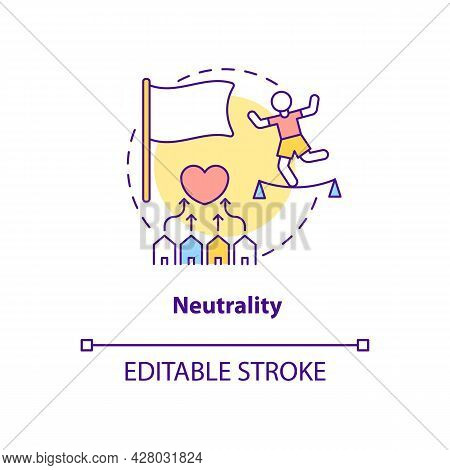 Neutrality Position And Mutual Understanding Concept Icon. Humantarian Aid Golden Mean Tendencies Ab