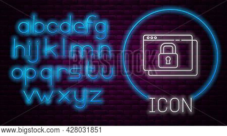 Glowing Neon Line Secure Your Site With Https, Ssl Icon Isolated On Brick Wall Background. Internet