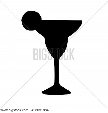 Vector Hand Drawn Doodle Sketch Margarita Cocktail Silhouette Isolated On White Background