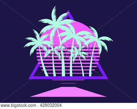 Retro Sci-fi 80s Palms At Retro Sunset. Futuristic Sun With Palm Trees. A Virtual Reality. Synthwave