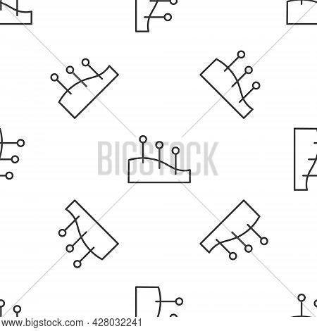 Grey Line Acupuncture Therapy Icon Isolated Seamless Pattern On White Background. Chinese Medicine.