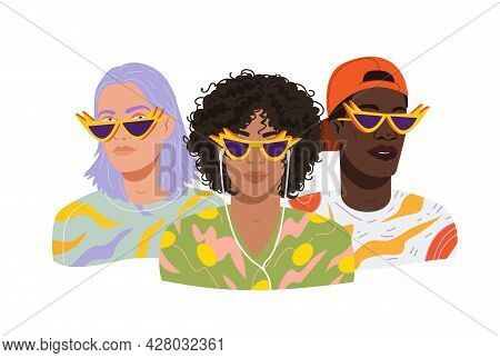 Portraits Of Diverse Modern Guys. Avatars Of Men In Modern Trendy Sunglasses And Fashion Outfits. Pa