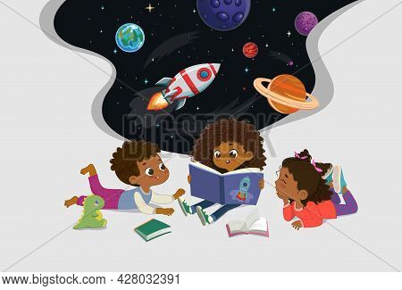Amazed Dark Skin Kids Reading Fantasy Cosmos Book Storybook Open Space Galaxy Travel By Spaceship