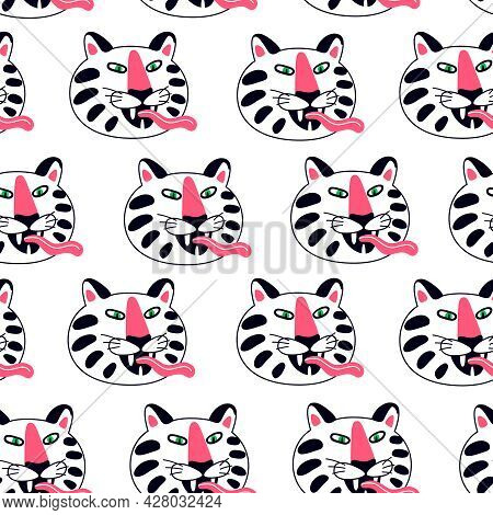 Funny Cruel White Tiger Muzzle With Tongue Childish Seamless Pattern Vector Flat Illustration
