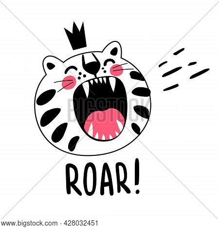 Cute Angry King Tiger Character Roaring With Open Mouth Vector Childish T Shirt Print