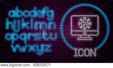 Glowing Neon Line Virus Statistics On Monitor Icon Isolated On Brick Wall Background. Corona Virus 2