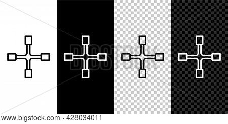 Set Line Wheel Wrench Icon Isolated On Black And White Background. Wheel Brace. Vector