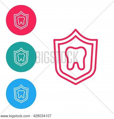 Red Line Dental Protection Icon Isolated On White Background. Tooth On Shield Logo. Set Icons In Cir