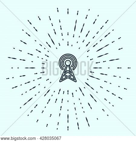Black Line Antenna Icon Isolated On Grey Background. Radio Antenna Wireless. Technology And Network