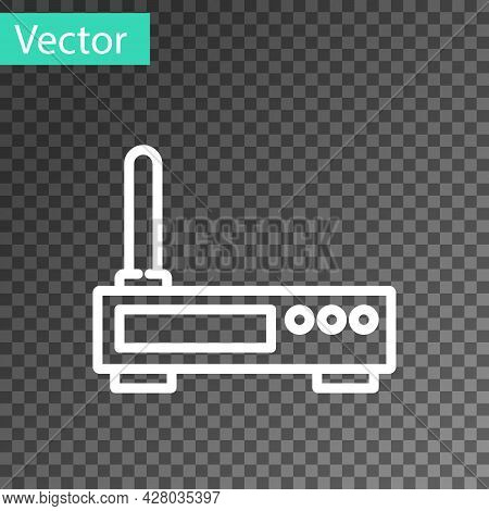 White Line Router And Wi-fi Signal Icon Isolated On Transparent Background. Wireless Ethernet Modem