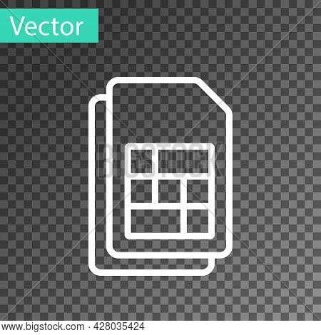 White Line Sim Card Icon Isolated On Transparent Background. Mobile Cellular Phone Sim Card Chip. Mo
