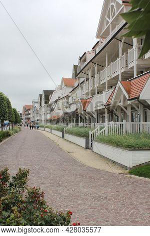 Nieuwpoort, Belgium, 15 July 2021: Vacation Appartments On Robert Orlent Promenade, Nieuwpoort, West