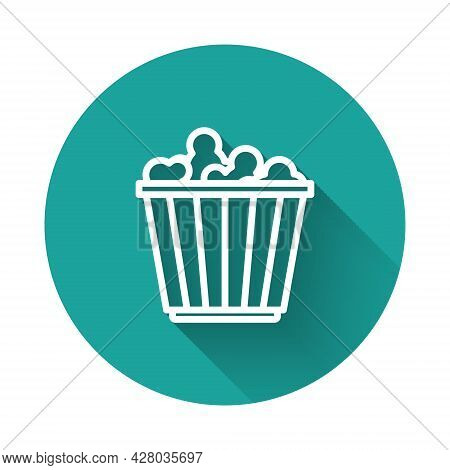 White Line Popcorn In Cardboard Box Icon Isolated With Long Shadow. Popcorn Bucket Box. Green Circle
