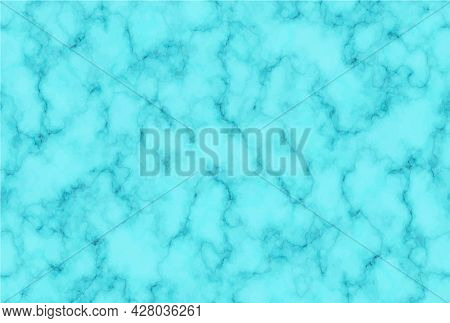 Vector Marble Pattern. Blue Marble For The Background. Delicate Turquoise Background With Texture. P
