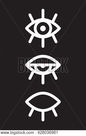 Black And White Poster With Line Of Open And Closed Eyes. Conceptual Design. Art Concept. Vector Ill