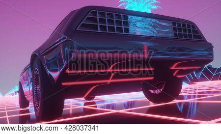Car In Neon Cyberpunk Style. 80s Retrowave Background. Retro Futuristic Car Drive Through Neon City.