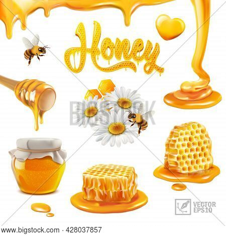 3d Realistic Vector Set With Honey, Pieces Of Honeycomb, Flying Bee, Chamomile Flowers, Propolis, Fl