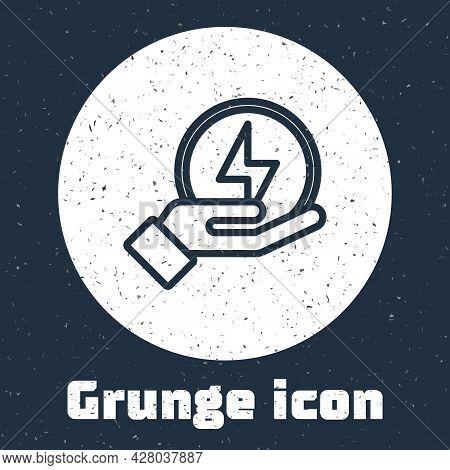 Grunge Line Lightning Bolt Icon Isolated On Grey Background. Flash Sign. Charge Flash Icon. Thunder