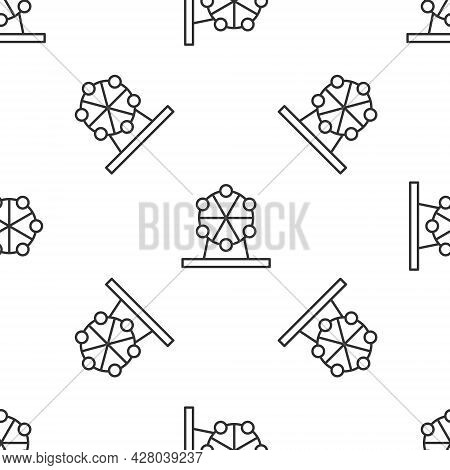 Grey Line Ferris Wheel Icon Isolated Seamless Pattern On White Background. Amusement Park. Childrens