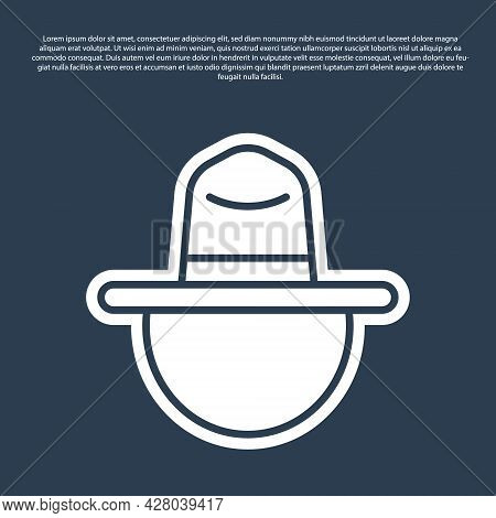 Blue Line Canadian Ranger Hat Uniform Icon Isolated On Blue Background. Vector