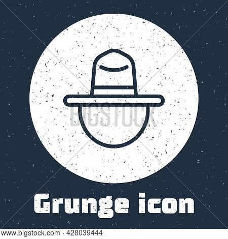Grunge Line Canadian Ranger Hat Uniform Icon Isolated On Grey Background. Monochrome Vintage Drawing