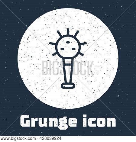 Grunge Line Mace, Symbol Of Ukrainian National Power Icon Isolated On Grey Background. Traditional W
