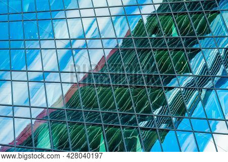 Blurred Abstract Reflection In Skyscraper Window Panes, Colorful Modern Background