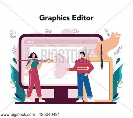 Graphic Designer Online Service Or Platform. Digital Artist Creating Brand