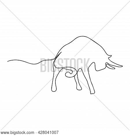 One Line Drawing Of A Bull. Bull Mascot Concept For Rodeo. Continuous Line Modern Illustration. Silh