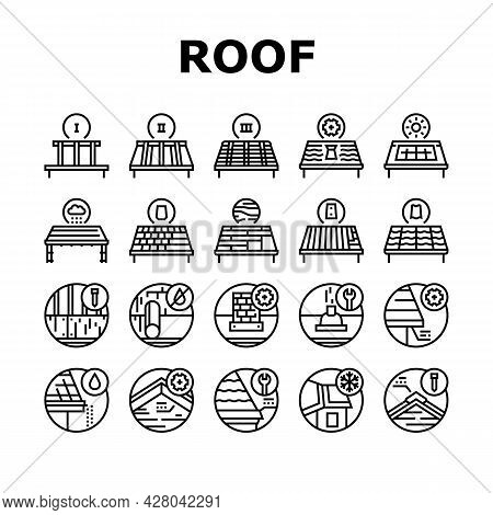Roof Replacement Job Collection Icons Set Vector. Metal And Wooden Roof Replacement, Installation So