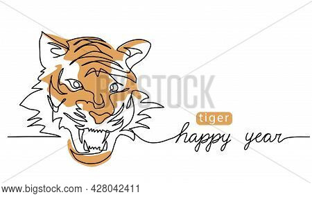 Roaring Tiger Head. One Continuous Line Art Drawing. Color Vector Illustration, Banner, Poster, Back