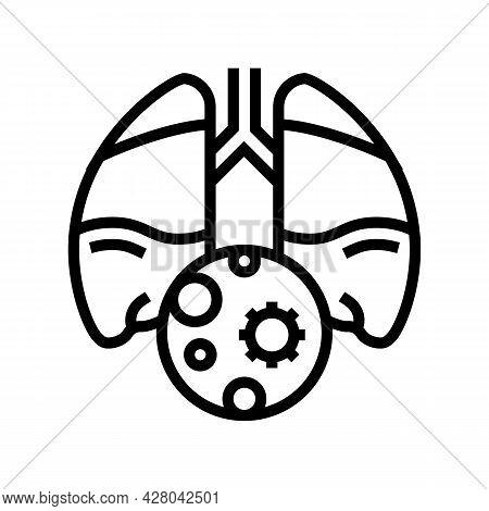 Pneumonia Inflammation Line Icon Vector. Pneumonia Inflammation Sign. Isolated Contour Symbol Black
