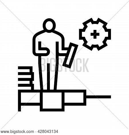 Master Tiler Line Icon Vector. Master Tiler Sign. Isolated Contour Symbol Black Illustration
