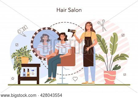 Hairdresser Concept. Idea Of Hair Care In Salon. Scissors And Brush, Shampoo
