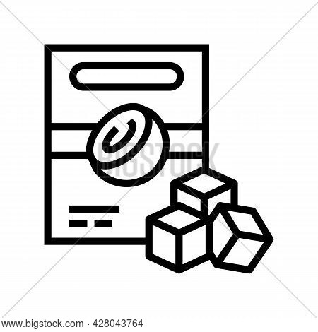 Charcoal Cubes Coconut Line Icon Vector. Charcoal Cubes Coconut Sign. Isolated Contour Symbol Black