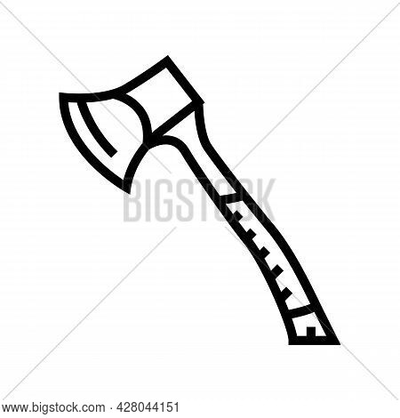Hunting Ax Line Icon Vector. Hunting Ax Sign. Isolated Contour Symbol Black Illustration