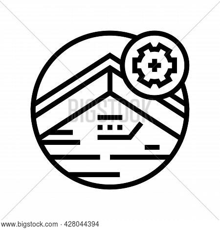 Roof Fascia Line Icon Vector. Roof Fascia Sign. Isolated Contour Symbol Black Illustration