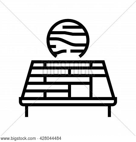 Wooden Roof Line Icon Vector. Wooden Roof Sign. Isolated Contour Symbol Black Illustration