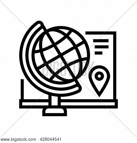 Geography School Subject Line Icon Vector. Geography School Subject Sign. Isolated Contour Symbol Bl